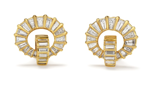 A Pair of Diamond and Gold Earrings