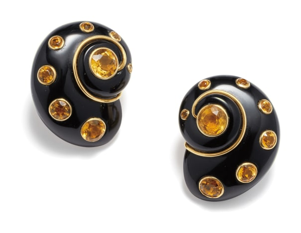 A Pair of Citrine, Onyx and Gold Earrings
