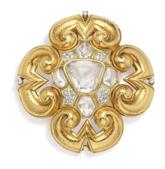 A Rock Crystal, Diamond, Gold and Platinum Brooch/Pendant