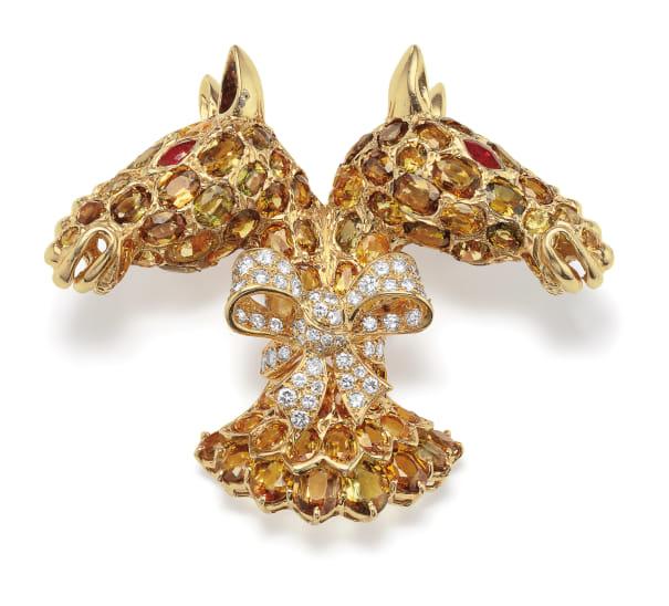 A Chrysoberyl, Ruby, Diamond and Gold Brooch