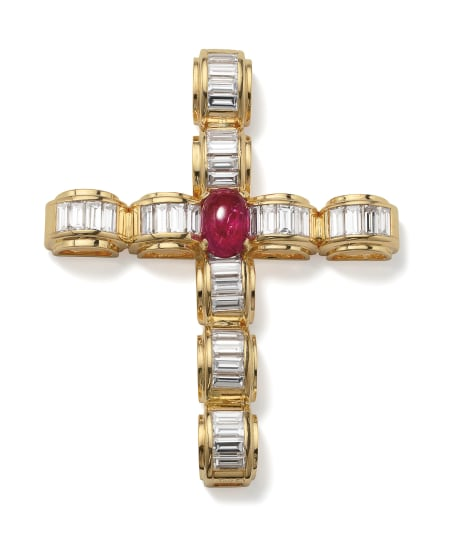 A Ruby, Diamond and Gold Pendant