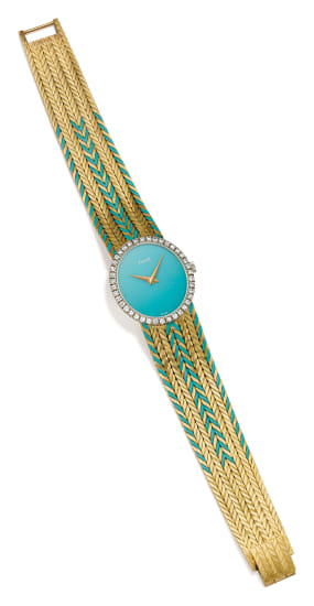 A Turquoise, Diamond and Gold Wristwatch
