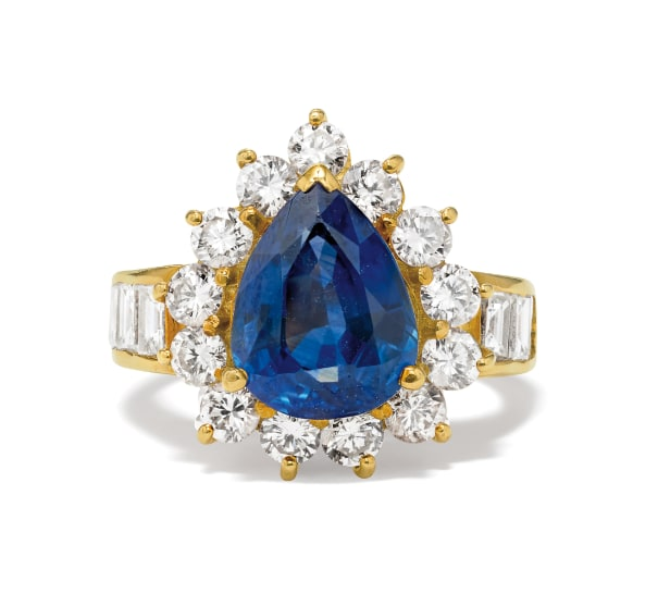 A Sapphire, Diamond and Gold Ring