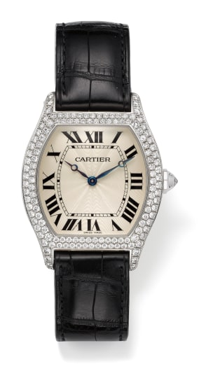 A Diamond, Gold and Leather 'Tortue' Wristwatch