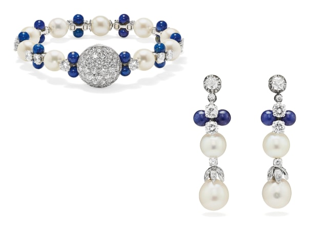 A Diamond, Cultured Pearl, Lapis Lazuli and Gold Wristwatch and Pair of Earrings