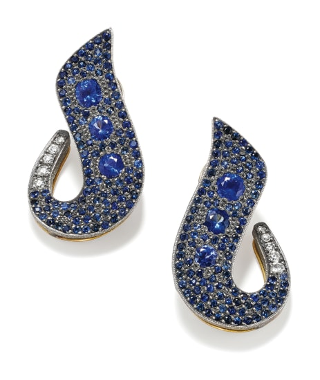 A Pair of Sapphire, Diamond and Gold Earrings