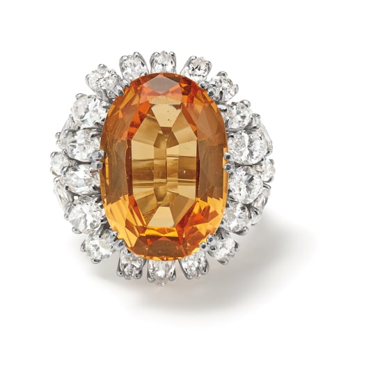 A Topaz, Diamond and Platinum Ring