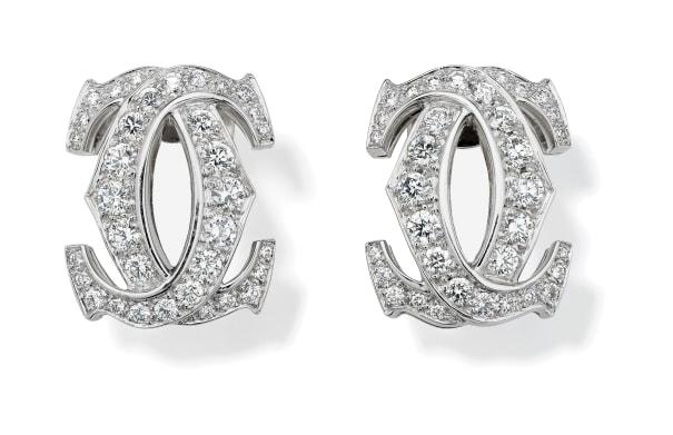 A Pair of Diamond and Gold 'C de Cartier' Earrings