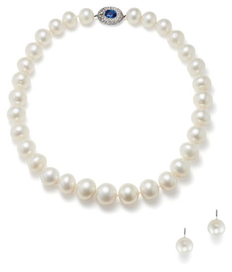A Cultured Pearl, Sapphire, Diamond and Gold Necklace and Pair of Cultured Pearl and Gold Earrings