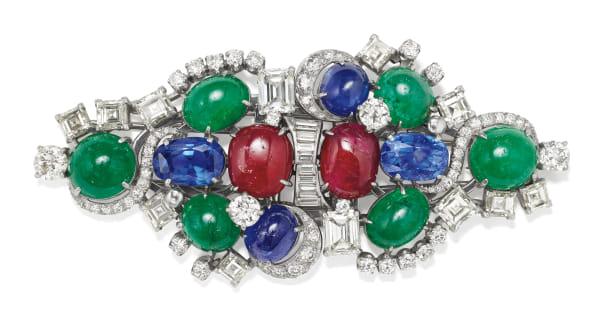 A Diamond, Emerald, Sapphire, Ruby and Platinum Brooch/Dress Clips