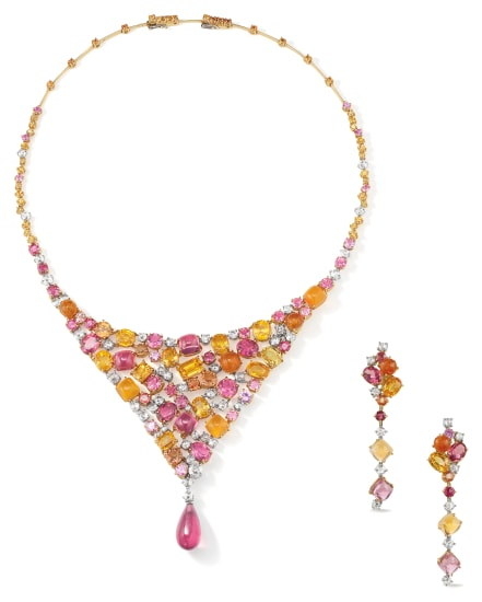 A Fancy Sapphire, Diamond and Gold Necklace and Pair of Earrings