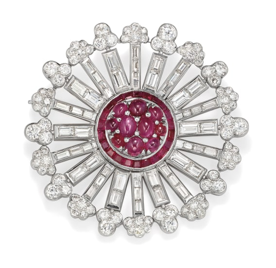 A Retro Diamond, Ruby and Platinum Brooch