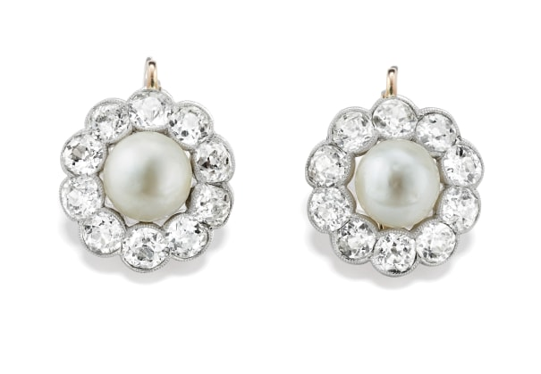 A Pair of Antique Natural Pearl, Diamond, Platinum and Gold Earrings