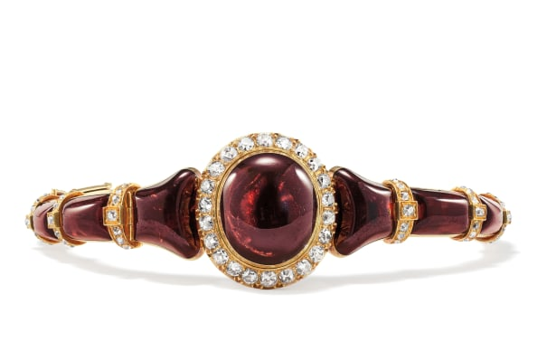 A Victorian Garnet, Diamond and Gold Locket/Bracelet