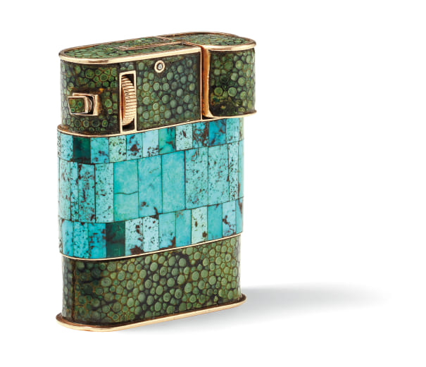 An Art Deco Turquoise, Shagreen and Gold Lighter