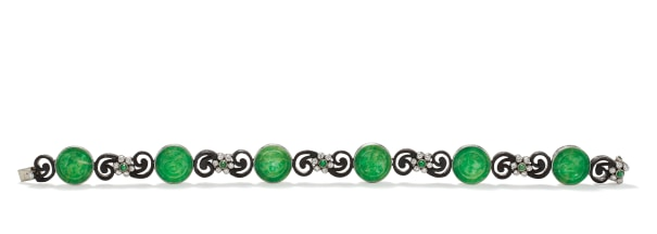 An Art Deco Jade, Diamond, Platinum and Steel Bracelet