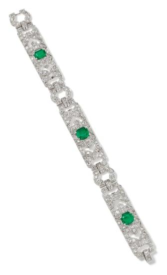 An Art Deco Emerald, Diamond and Platinum Bracelet