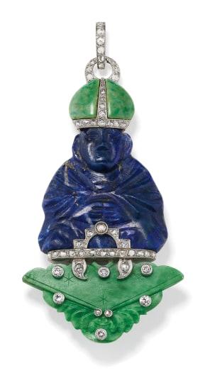 An Art Deco Lapis Lazuli, Jadeite, Diamond, Platinum and Gold Pendant