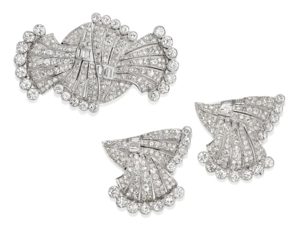 A Pair of Art Deco Diamond and Platinum Dress Clips