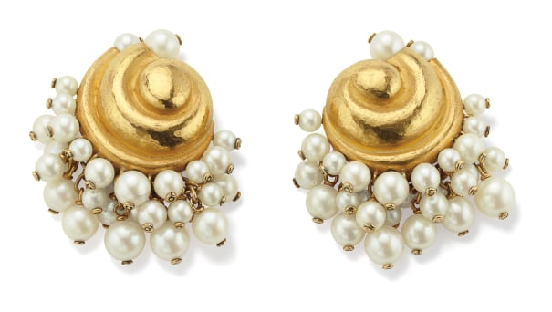 A Pair of Cultured Pearl and Gold Earrings