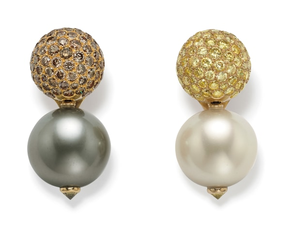 A Pair of Cultured Pearl, Colored Diamond and Gold Earrings