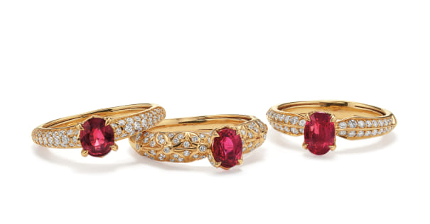 A Set of Ruby, Diamond and Gold Rings