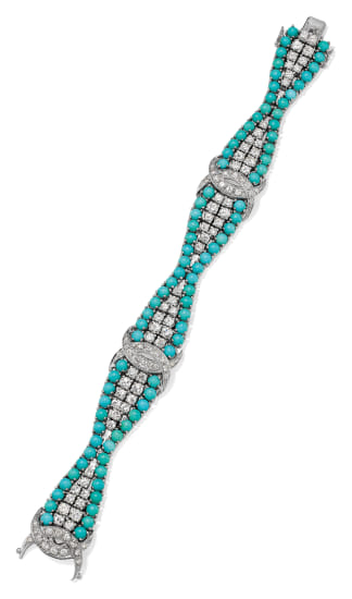 A Diamond, Turquoise and Gold Bracelet