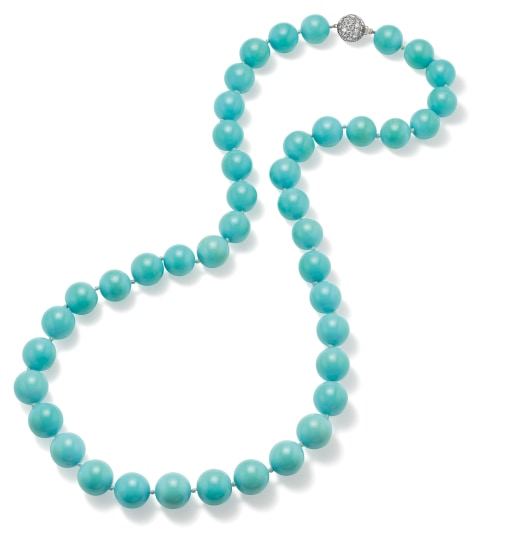A Turquoise, Diamond and Platinum Necklace