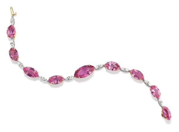 A Fancy Sapphire, Diamond, Platinum and Gold Bracelet