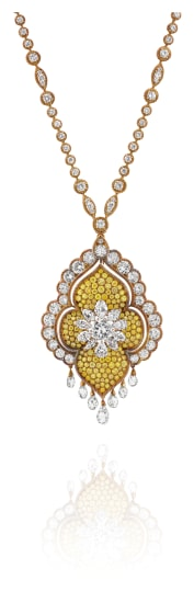 A Diamond, Colored Diamond and Gold Necklace and Pendant/Brooch