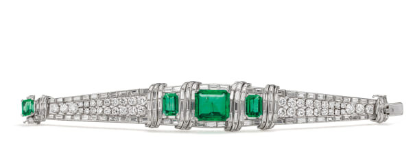 An Emerald, Diamond and Platinum Bracelet