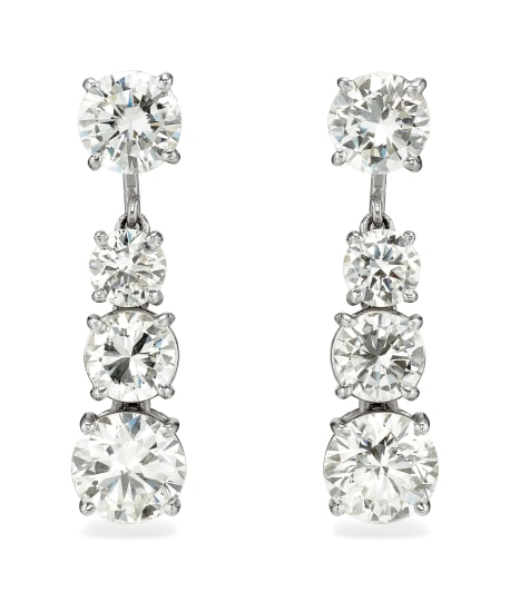 A Pair of Diamond and Platinum Earrings