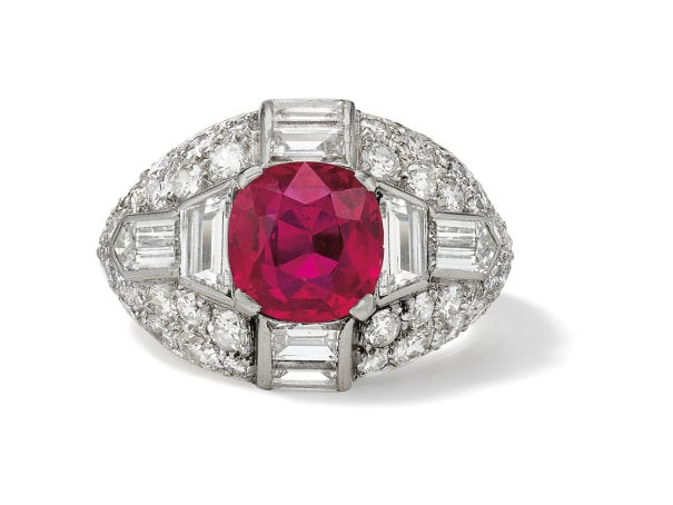 A Fine Ruby, Diamond and Platinum Ring