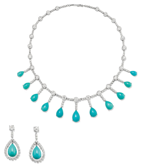 A Diamond, Turquoise, Platinum and Gold Necklace and Pair of Earrings
