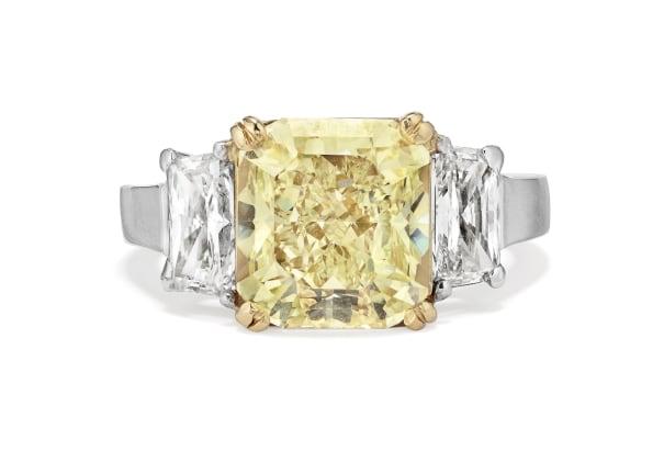 A Fancy Diamond, Diamond, Platinum and Gold Ring