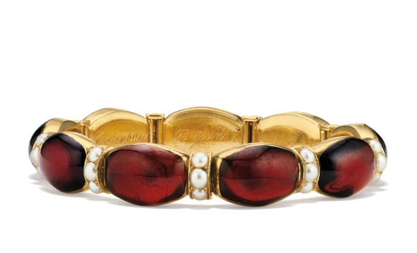 A Victorian Garnet, Seed Pearl and Gold Bracelet