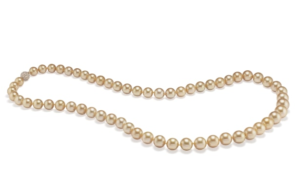 A Cultured Pearl, Diamond and Gold Necklace