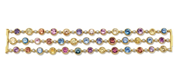 A Fancy Sapphire, Sapphire, Diamond and Gold Bracelet