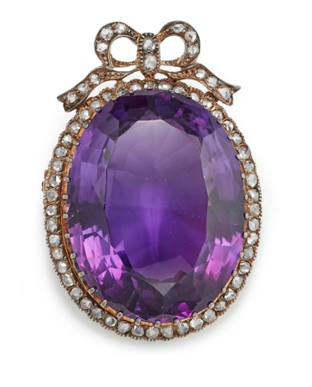 An Antique Amethyst, Diamond and Gold Brooch