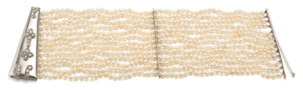 A Seed Pearl, Diamond and Gold Bracelet