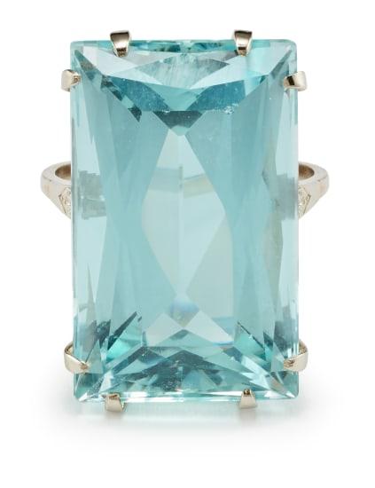An Aquamarine, Diamond and Gold Ring