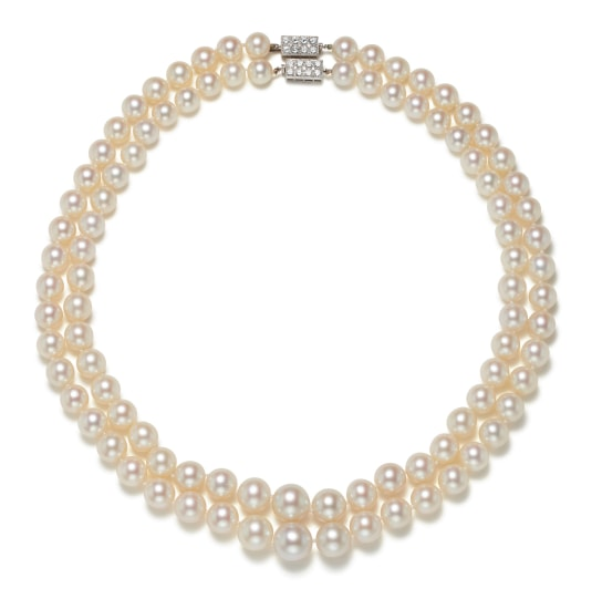 A Companion Pair of Cultured Pearl and Diamond Necklaces