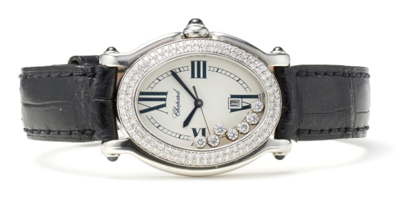 A Diamond, Stainless Steel and Leather 'Happy Sport' Wristwatch