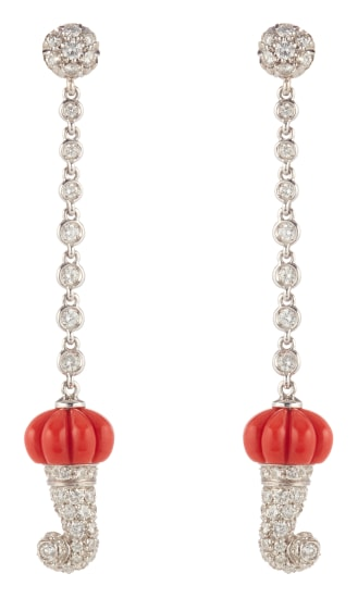 A Pair of Diamond, Coral and Gold Earrings