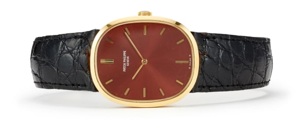 A Gold and Leather 'Ellipse' Wristwatch