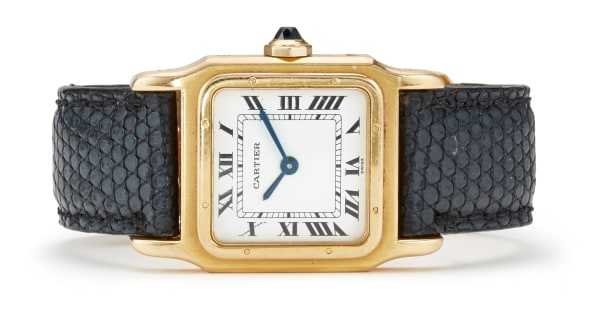 A Gold and Leather 'Santos Dumont' Wristwatch