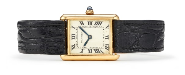 A Gold and Leather 'Tank' Wristwatch