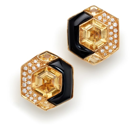 A Pair of Citrine, Onyx, Diamond and Gold Earrings
