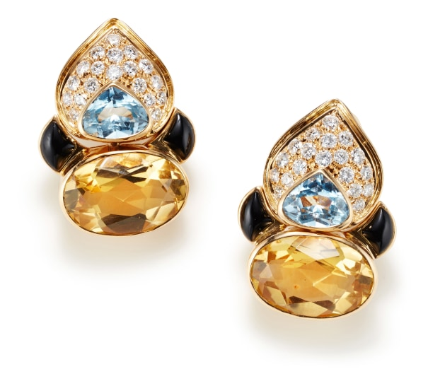 A Pair of Citrine, Topaz, Onyx, Diamond and Gold Earrings