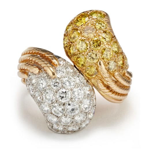 A Colored Diamond, Diamond and Gold Ring